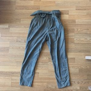 Zara Plaid High-Waisted Belted Trousers